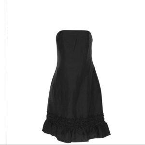 strapless black ruffle dress